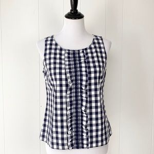 Anthropologie Odille Blue Ruffle Gingham top Sz 6
